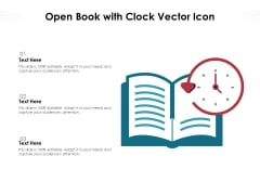 Open Book With Clock Vector Icon Ppt PowerPoint Presentation Summary Clipart Images PDF