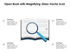 Open Book With Magnifying Glass Vector Icon Ppt PowerPoint Presentation File Smartart PDF