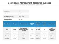 Open Issues Management Report For Business Ppt PowerPoint Presentation File Gallery PDF