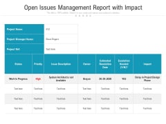 Open Issues Management Report With Impact Ppt PowerPoint Presentation File Portrait PDF