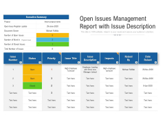 Open Issues Management Report With Issue Description Ppt PowerPoint Presentation File Portfolio PDF