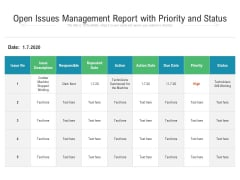 Open Issues Management Report With Priority And Status Ppt PowerPoint Presentation File Formats PDF