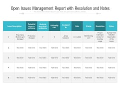 Open Issues Management Report With Resolution And Notes Ppt PowerPoint Presentation File Icons PDF