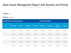 Open Issues Management Report With Severity And Priority Ppt PowerPoint Presentation Gallery Influencers PDF