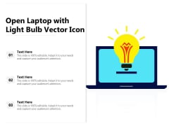 Open Laptop With Light Bulb Vector Icon Ppt PowerPoint Presentation Model Background Image PDF