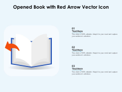 Opened Book With Red Arrow Vector Icon Ppt PowerPoint Presentation File Template PDF