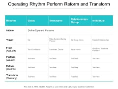 Operating Rhythm Perform Reform And Transform Ppt Powerpoint Presentation Professional Inspiration