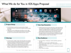 Operating System Application What We Do For You In IOS Apps Proposal Ppt PowerPoint Presentation Summary Visual Aids PDF