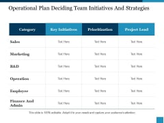 Operational Plan Deciding Team Initiatives And Strategies Ppt PowerPoint Presentation Slides Graphics Example