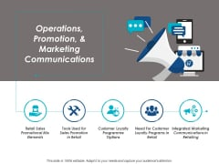 Operations Promotion And Marketing Communications Ppt Powerpoint Presentation Icon Graphics Download