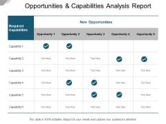 Opportunities And Capabilities Analysis Report Ppt Powerpoint Presentation Pictures Elements