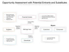Opportunity Assessment With Potential Entrants And Substitutes Ppt PowerPoint Presentation Gallery Template PDF