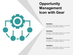 Opportunity Management Icon With Gear Ppt PowerPoint Presentation Gallery Guidelines