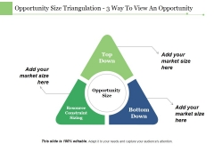 Opportunity Size Triangulation 3 Way To View An Opportunity Ppt PowerPoint Presentation Styles Portfolio