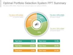 Optimal Portfolio Selection System Ppt Summary