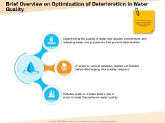 Optimization Of Water Usage Brief Overview On Optimization Of Deterioration In Water Quality Portrait PDF