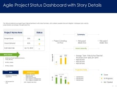 Optimizing Tasks Team Collaboration Agile Operations Agile Project Status Dashboard With Story Details Icons PDF