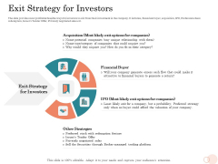 Option Pool Funding Pitch Deck Exit Strategy For Investors Ppt Styles Sample PDF