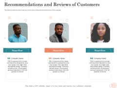Option Pool Funding Pitch Deck Recommendations And Reviews Of Customers Ppt Infographics Visuals PDF