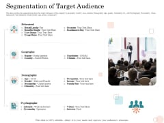 Option Pool Funding Pitch Deck Segmentation Of Target Audience Ppt Gallery Slide Portrait PDF