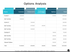 Options Analysis Ppt PowerPoint Presentation Show Templates