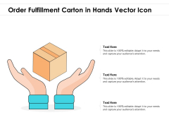 Order Fulfillment Carton In Hands Vector Icon Ppt PowerPoint Presentation Inspiration Layout PDF