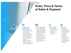 Order Price And Terms Of Sales And Payment Ppt PowerPoint Presentation Inspiration Microsoft