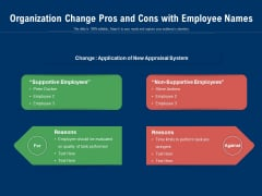 Organization Change Pros And Cons With Employee Names Ppt PowerPoint Presentation File Samples PDF