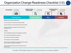 Organization Change Readiness Checklist Action Required Ppt PowerPoint Presentation Pictures Example