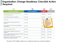 Organization Change Readiness Checklist Action Required Ppt PowerPoint Presentation Pictures Samples
