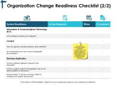 Organization Change Readiness Checklist Table Ppt PowerPoint Presentation Show Files