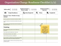 Organization Change Readiness Checklist Template 1 Ppt PowerPoint Presentation Infographics Graphics Download
