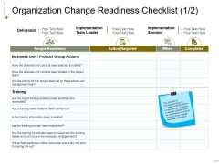 Organization Change Readiness Checklist Template 1 Ppt PowerPoint Presentation Inspiration Show