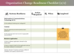 Organization Change Readiness Checklist Template 2 Ppt PowerPoint Presentation File Information