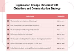 Organization Change Statement With Objectives And Communication Strategy Ppt PowerPoint Presentation Model Background PDF