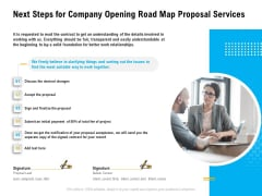 Organization Inception Timeline Proposal Next Steps For Company Opening Road Map Proposal Services Slides PDF