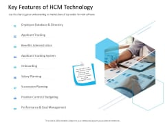 Organization Manpower Management Technology Key Features Of HCM Technology Slides PDF