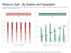 Organization Performance Evaluation Revenue Split By Quarter And Geography Graphics PDF