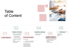 Organization Performance Evaluation Table Of Content Rules PDF