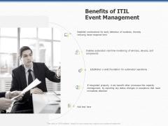 Organization Strategic Plan Benefits Of ITIL Event Management Ppt PowerPoint Presentation Outline Model PDF