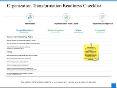 Organization Transformation Readiness Checklist Ppt PowerPoint Presentation Summary Layout Ideas