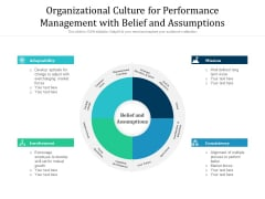 Organizational Culture For Performance Management With Belief And Assumptions Ppt PowerPoint Presentation Portfolio Shapes PDF