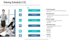 Organizational Development And Promotional Plan Training Schedule Dates Portrait PDF