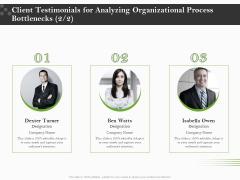 Organizational Development Client Testimonials For Analyzing Organizational Process Bottlenecks Summary PDF