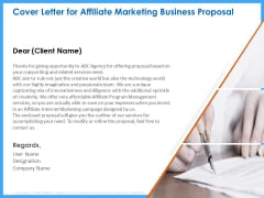 Organizational Performance Marketing Cover Letter For Affiliate Marketing Business Proposal Brochure PDF