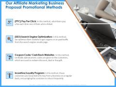 Organizational Performance Marketing Our Affiliate Marketing Business Proposal Promotional Methods Icons PDF