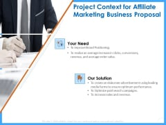 Organizational Performance Marketing Project Context For Affiliate Marketing Business Proposal Template PDF
