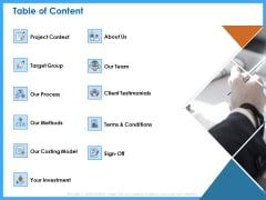 Organizational Performance Marketing Table Of Content Ppt PowerPoint Presentation Pictures Templates PDF