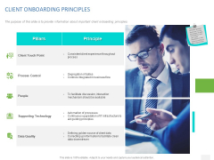 Organizational Socialization CLIENT ONBOARDING PRINCIPLES Ppt Show Icon PDF