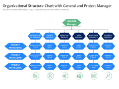 Organizational Structure Chart With General And Project Manager Ppt PowerPoint Presentation Slides Examples PDF